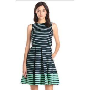 Taylor A-Line Pockets Navy & Green Stripe Dress